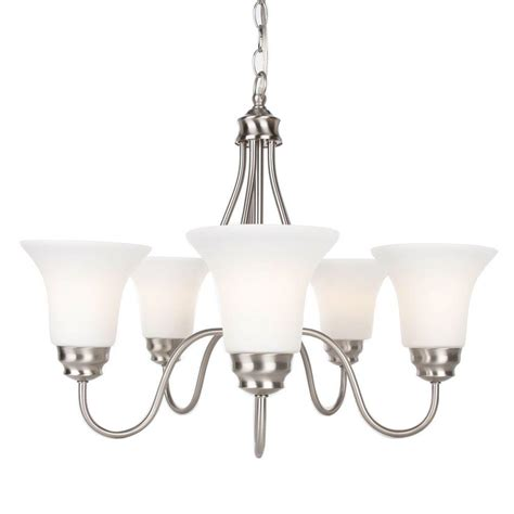 commercial electric 5 light chandelier commercial electric 5 light brushed nickel reversible