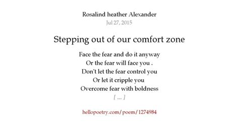 comfort zone poem stepping out of our comfort zone by rosalind heather