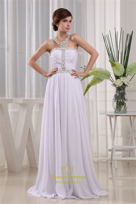 beaded halter prom dress halter neck beaded prom dress white beaded chiffon