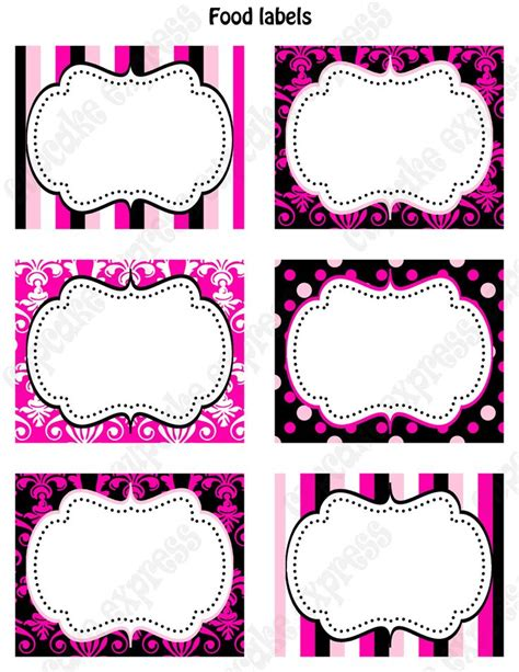 printable labels party favors instant download diy barbie inspired birthday party