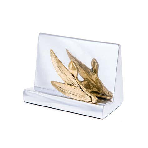 gold business card holder desk desk accessories set of 3 olive branch design handmade