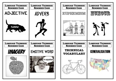 36 best secondary gcse english revision images on pinterest language techniques revision flashcards for aqa gcse