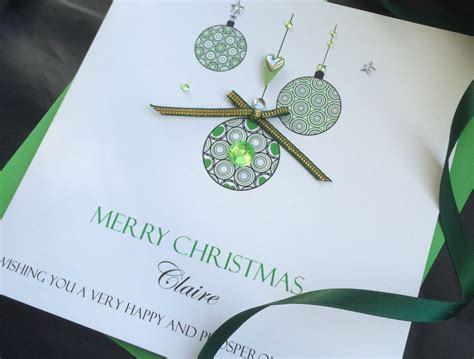 Innovative Handmade Cards - green baubles handmade card handmade