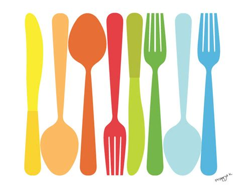 Kitchen Forks And Knives For Kitchen Spoon Fork Knife Illustration 8x10 By