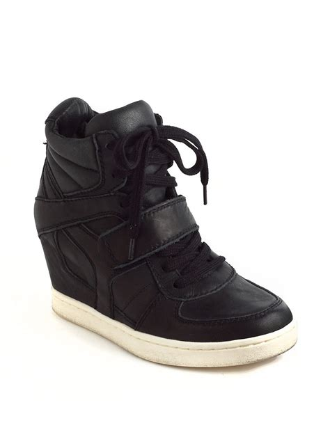 ash leather wedge sneakers ash cool ter leather wedge hightop sneakers in black lyst