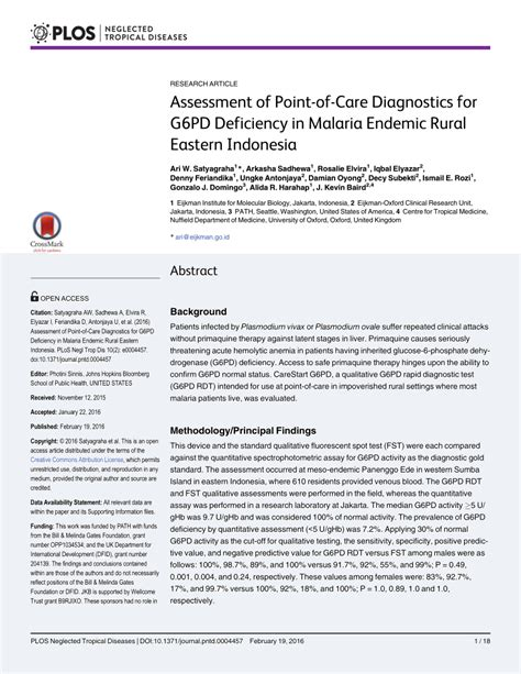 considerations for point of care diagnostics evaluation assessment of point of care diagnostics for g6pd