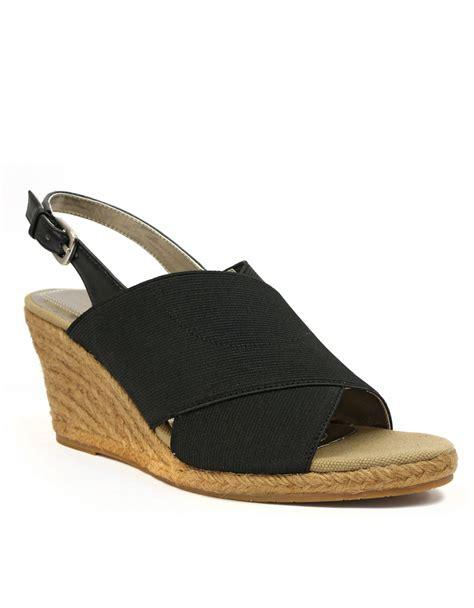 tahari sandals tahari wanda wedge sandals in black lyst