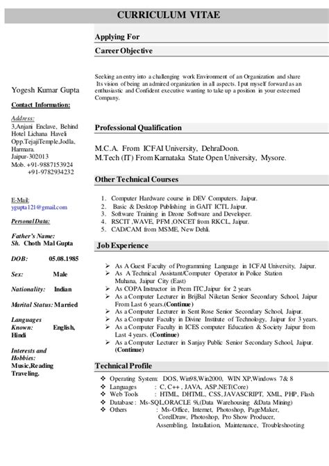 Resume Profile Exles For Data Computer Resume For Computer Science Faculty