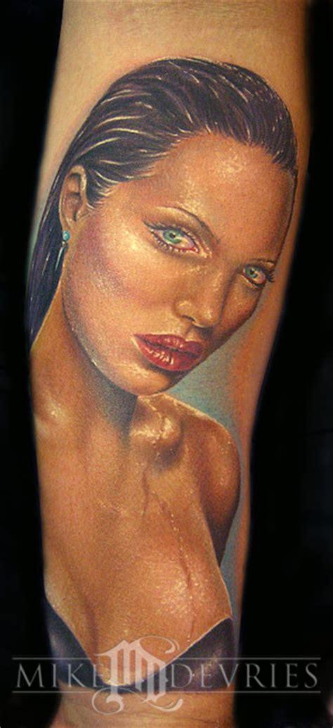 angelina jolie face tattoo mike devries tattoos portrait angelina jolie