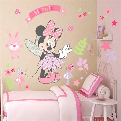 Fairy Wall Stickers Uk pink minnie mouse wall stickers cartoon mural vinyl decals