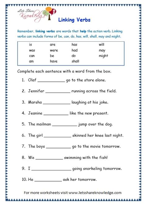 Linking Verbs Worksheet by The Gallery For Gt Linking Verbs Worksheet