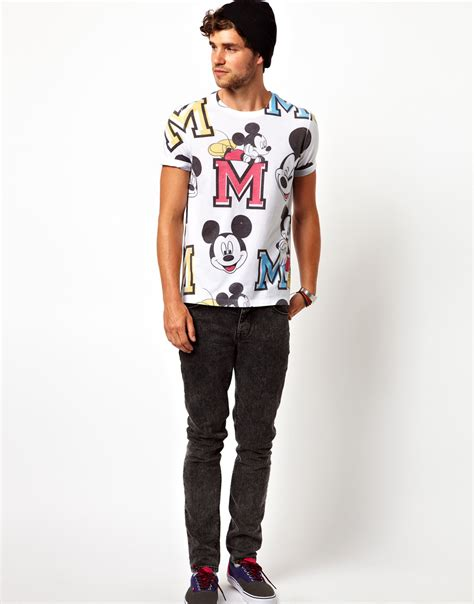 Tshirt Mickey From Ordinal Apparel lyst asos tshirt with all varsity mickey mouse print in white for