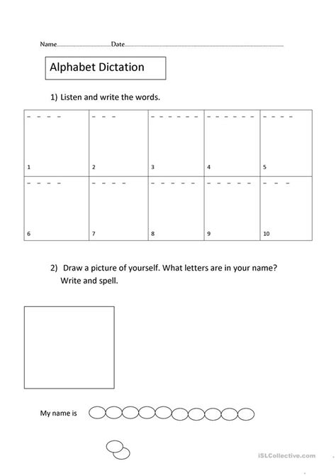 Letter Dictation the alphabet dictation and spelling worksheet free esl