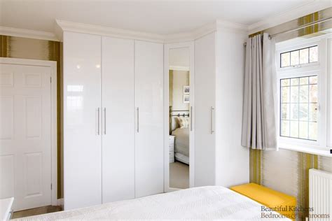 Cheap Bedroom Units Uk Gloss White Bedroom With Corner Wardrobes Beautiful Kitchens