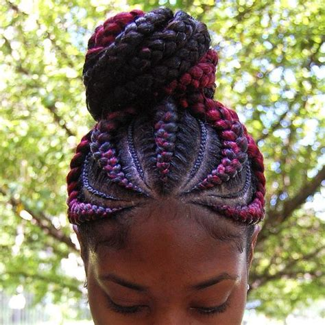 red braids in a bun 31 ghana braids styles for trendy protective looks