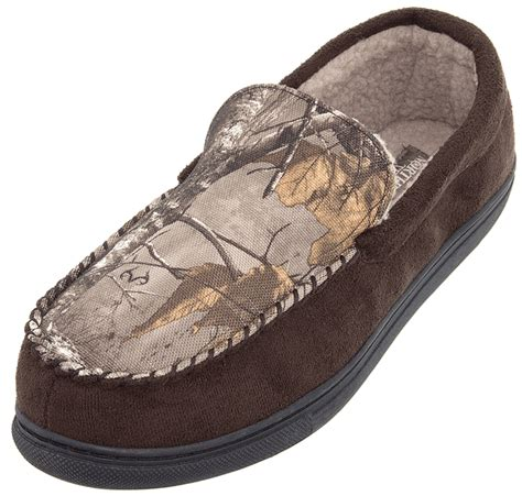 boys camo moccasin slippers northern trail brown camo moccasin slippers for