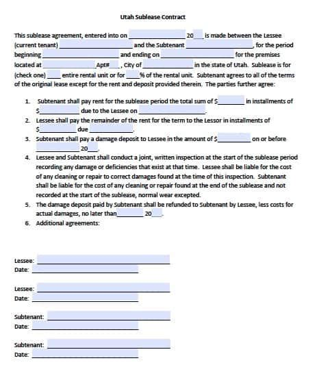 Free Utah Sublease Agreement Form Pdf Template Rental Agreement Template Utah