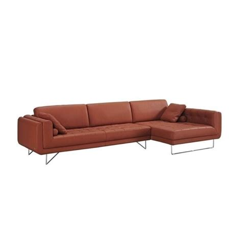 right facing sectional catania leather right facing chaise sectional in pumpkin