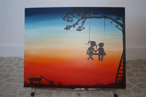 painting of boy and girl on swing boy and girl holding hands on tree swing by smartartbymcswish