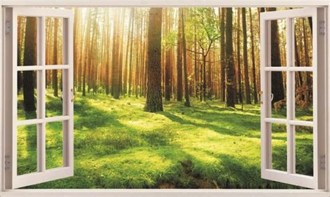 Temporary Wall Stickers forest under sunshine 3d window removable wall sticker art