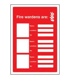 fire wardens are 3 names locations and numbers sign