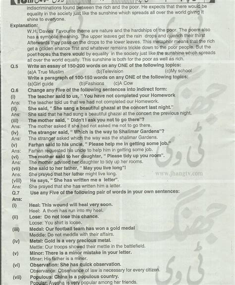 english pattern of 10th class 2014 10th class guess papers english 2014 all boards jhang tv