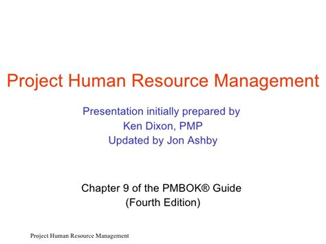 Mba Projects Human Resource Management by Ed4 P9 Project Human Resources Management