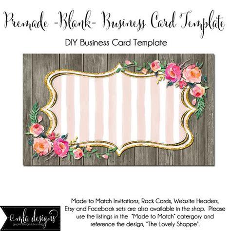 Diy Blank Business Card Template The Lovely Shoppe Made Etsy Card Templates