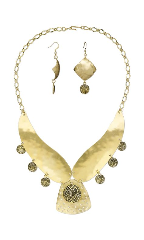 sheet metal jewelry jewelry design bib style necklace and earring set with