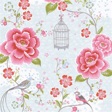 floral wallpaper for walls light blue floral birds trail wallpaper bolt