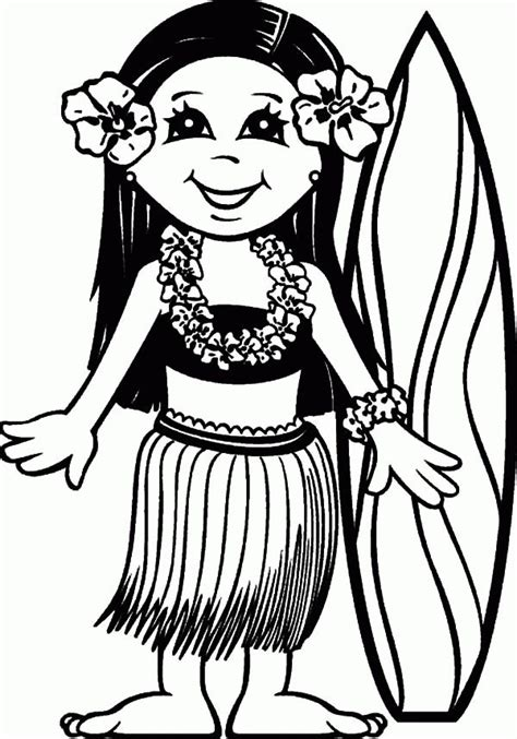 surfer girl hawaii coloring pages surfer girl hawaii