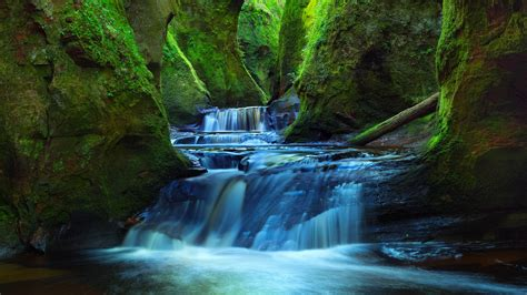 wallpaper finnich glen deep valley forest stream river