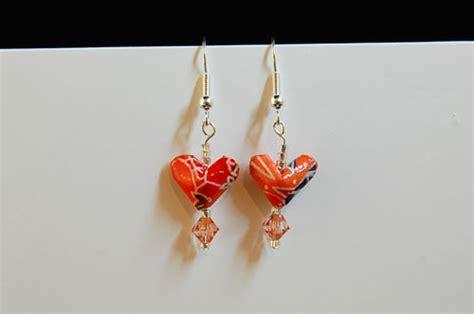 making origami jewelry valentine gifts origami heart earrings make handmade