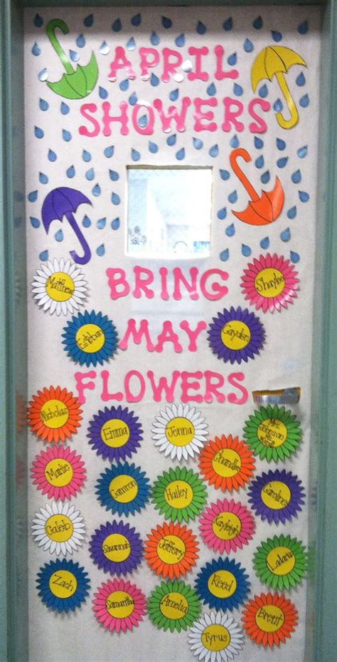 Educational Themes For April | classroom door decorating idea for april may pre k