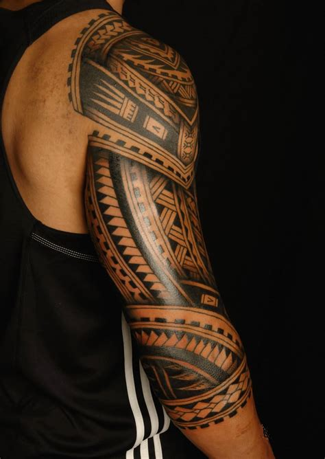 full arm sleeve tribal tattoo designs back sleeve cool polynesian tribal