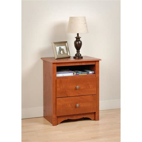 Cherry Nightstand With Drawers Prepac Monterey 2 Drawer Cherry Nightstand Cdc 2428 The Home Depot