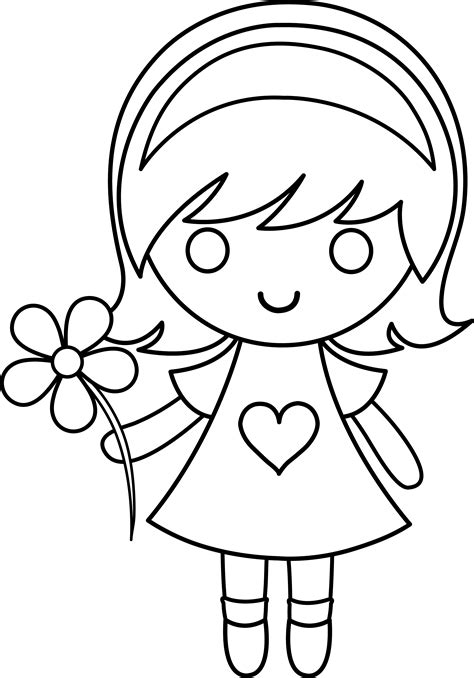 daisy girl colorable line art free clip art