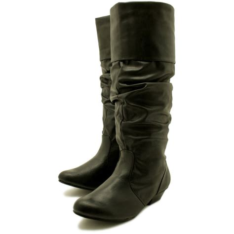 buy harmony block heel wide calf biker boots black