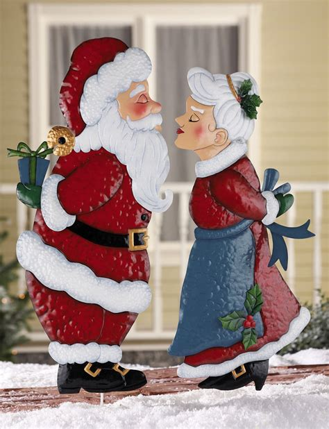 ebay outdoor decorations santa or mrs claus outdoor metal garden