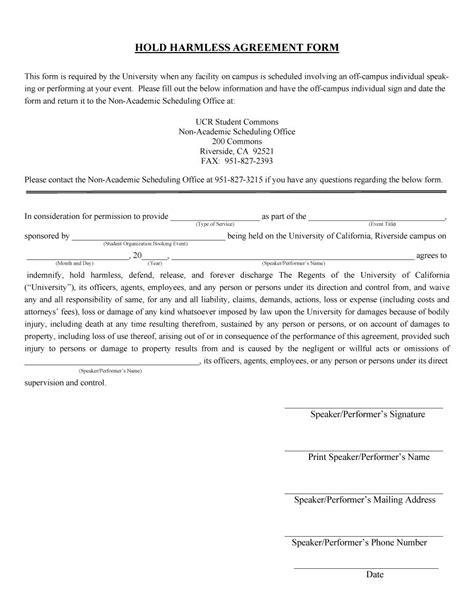 hold harmless agreement templates  templatelab