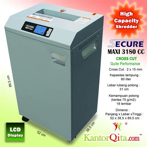 Mesin Penghancur Kertas Cross Cut Shredder Tpr210 mesin penghancur kertas paper shredder secure maxi 3180 cc