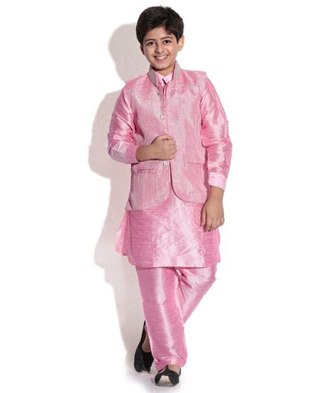 riwaaz cream mehroon color kurta pajama set with jacket riwaaz pink color kurta pajama set with jacket for kids