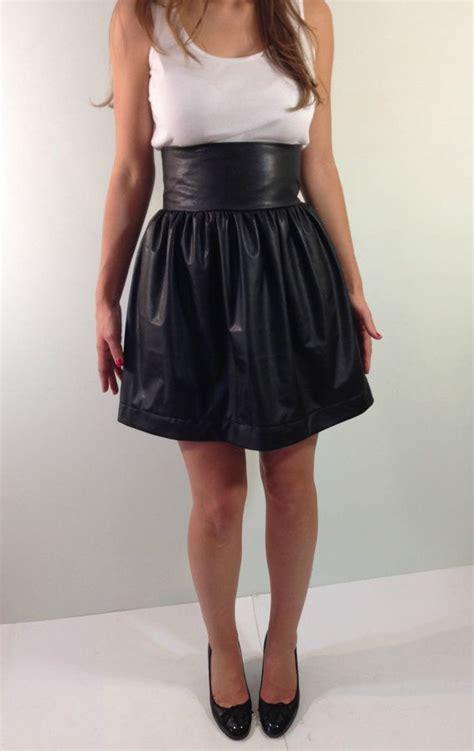 high waisted mini skirt black leather skirt