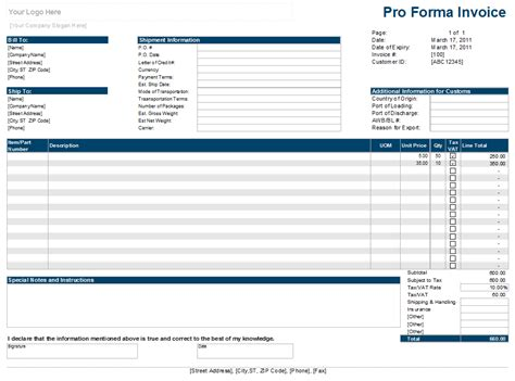 proforma invoice template free download best template