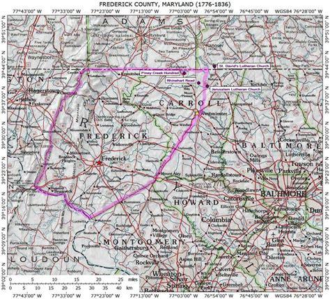 maryland map frederick frederick county maryland genealogy