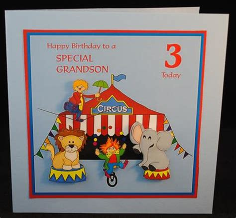 printable birthday cards grandson birthday card for grandson age 3 with circus scene