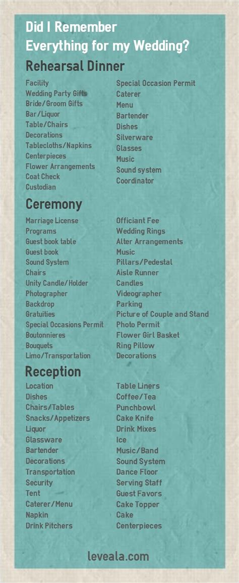 Wedding Checklist Tie The Knot by Did I Remember Everything For My Wedding Wedding