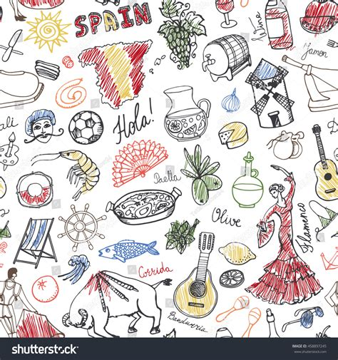 doodle barcelona spain doodles seamless pattern elements icon vector