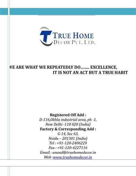 true home decor company profile true home decor pvt ltd by true home
