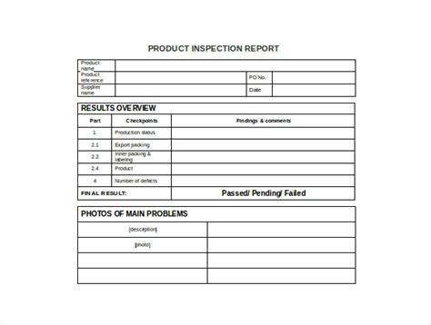 inspection report template production report template 9 free word pdf documents